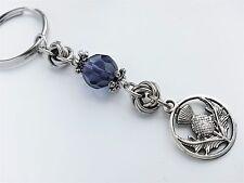 Scottish Thistle Keyring ~ Bag Charm Purple Scotland Gift Wedding Hen Favour