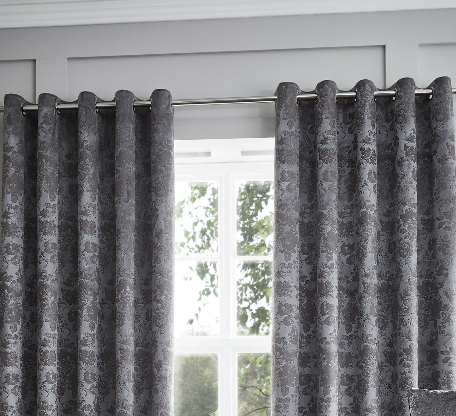 Luxury SUEDE Velvet SUEDE Luxury Eyelet LINED CURTAINS Graphite 023d00