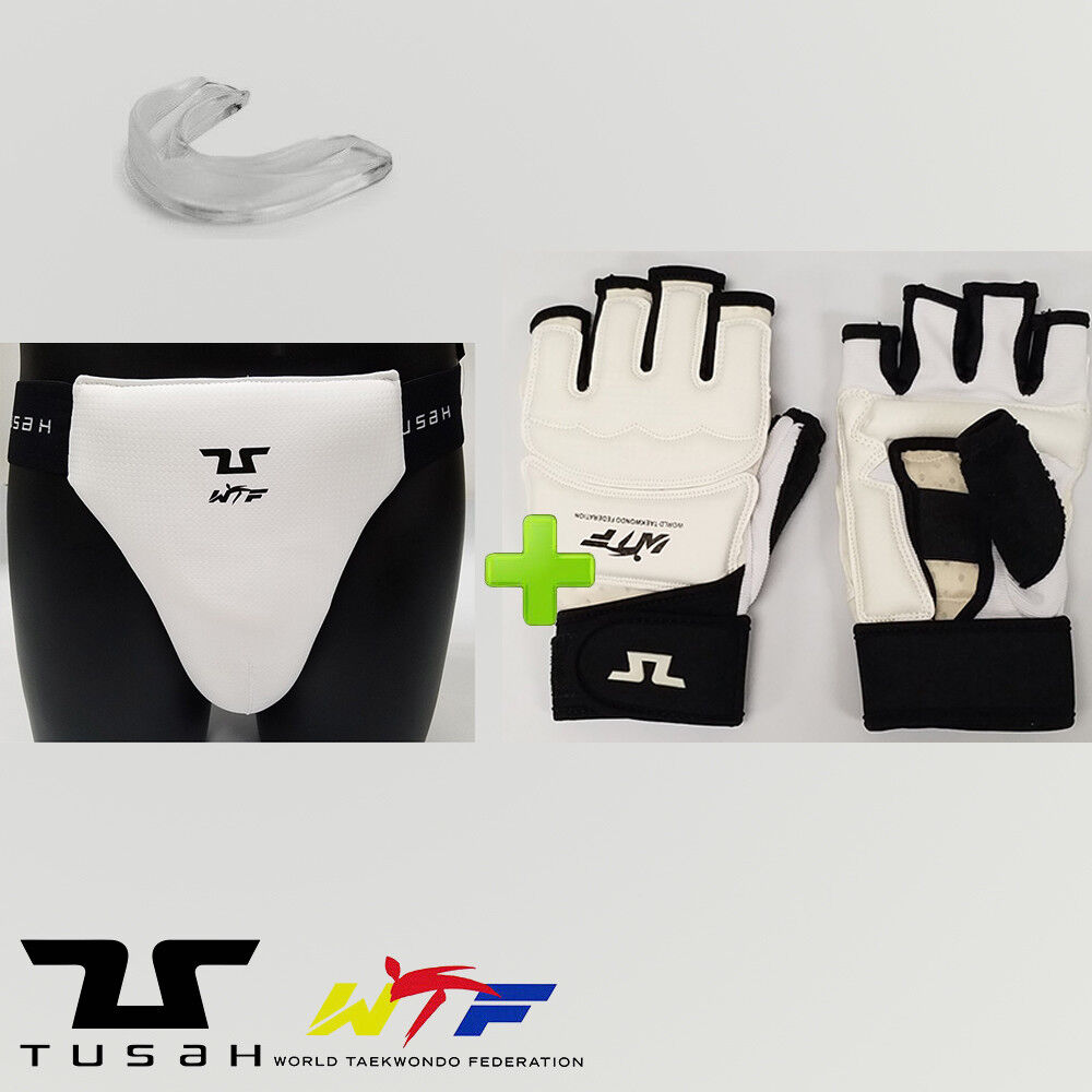 New  Tusah Taekwondo WTF Groin Cup Competition Sparring Gear Set w  Mouthguard