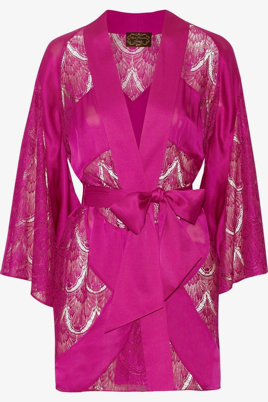 Agent Provocateur Soiree S M Kimono wrap GOWN pink silk lace EMIE new & gift box