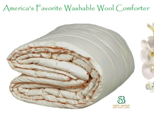 "Down Alternative KING 100x86/"" Hypoallergenic Washable Pure Wool Comforter//Duvet"