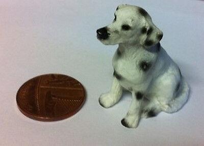 1:12 Scale Ceramic Dalmatian Puppy Ornament Tumdee Dolls House Miniature Dog Q