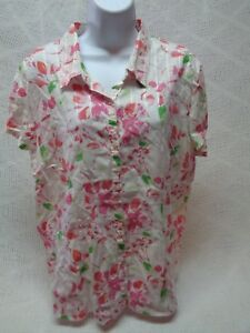 WOMENS-ST-JOHNS-BAY-XL-S-S-COTTON-BLEND-WHITE-PINK-GREEN-FLORAL-BUTTON-BLOUSE