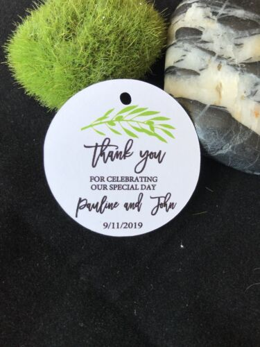 10 Kraft White Gift Tags Wedding Favour Bomboniere Personalised Thank you Olive