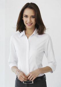 WOMENS-CASUAL-TOPS-LADIES-STIRLING-3-4-SLEEVE-SHIRT-SIZE-6-WHITE-S620LT