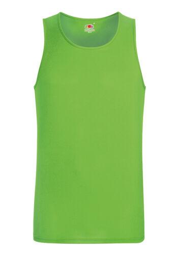 Fruit of the Loom SS017 Mens Performance Vest Plain Cotton Sports Wear Vests Top
