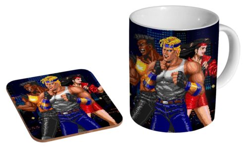 Coffee Mug Coaster Gift Set Streets Of Rage Classic Graphics Ceramic Tea