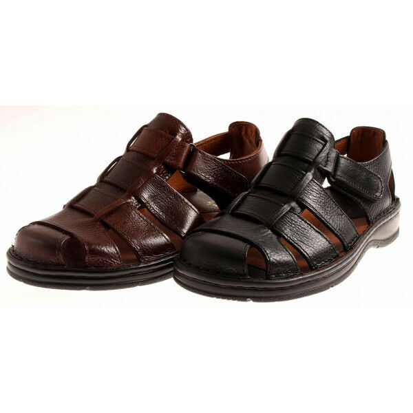 JR Shoes Ledersandalen Echtleder Herren bequem leicht Comfort Sandalen