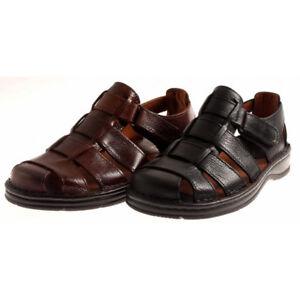 JR-Shoes-Ledersandalen-Echtleder-Herren-bequem-leicht-Comfort-Sandalen