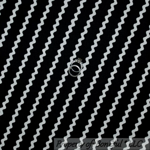 BonEful FABRIC FQ Cotton Quilt Black White B&W Ric Rac Rick Rack Stripe Zig Zag