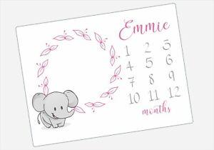 Personalised Elephant Baby Milestone Blanket 1-12 Months