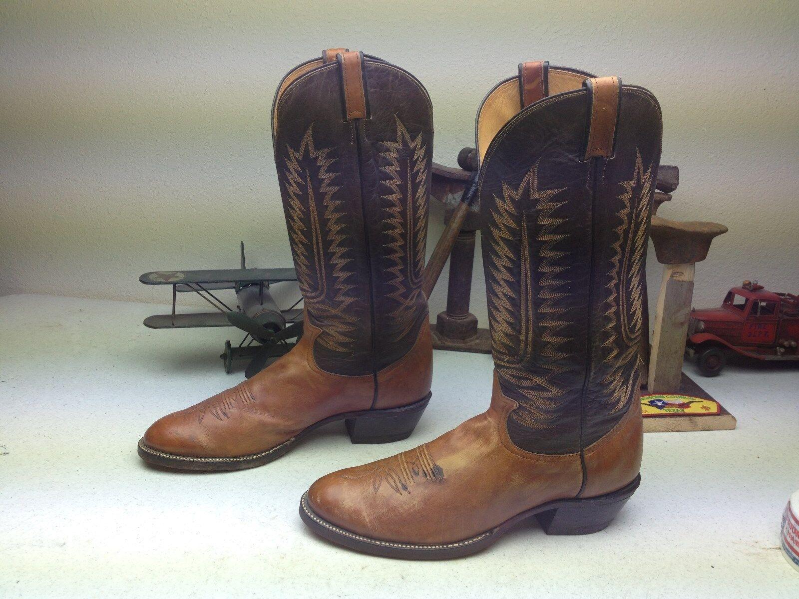 Tony Lama Usa Cognac país occidental Cowboy Buckaroo Motorcycle Biker botas 13 B