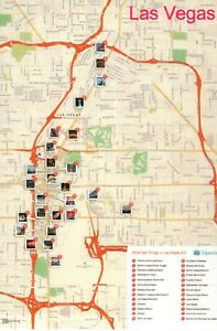 Details about Tourist Map of some Attractions of Las Vegas Nevada, Hotels  Casinos etc Postcard