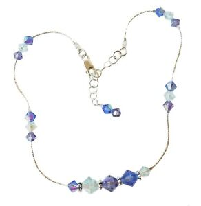 SWAROVSKI-Elements-CRYSTAL-ANKLET-Sterling-Silver-LT-AZORE-TANZANITE-SAPPHIRE
