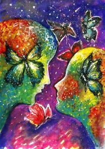 ACEO-Woman-Men-romance-butterfly-Fantasy-abstract-original-painting-art-card