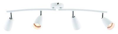 Modern White with Chrome Detail 4 Way Spotlight Bar Kitchen Ceiling Spot Light