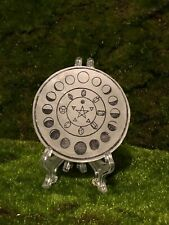 """6/"""" Moon phases etched selenite charging station plate slab hand painted"""