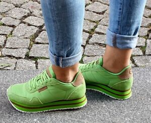 Details zu WODEN Sneaker NORA II PLATEAU Neon Grün Green Echtleder Textil Wechselfußbett