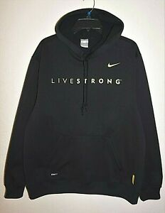 Nike-Livestrong-Mens-L-Sweatshirt-Hoodie-Pullover-Cycling-Lance-Armstrong-Black