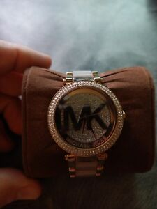 Details about Michael Kors MK6176 Women's Parker Rose Gold Stainless Steel Crystal Logo Watch