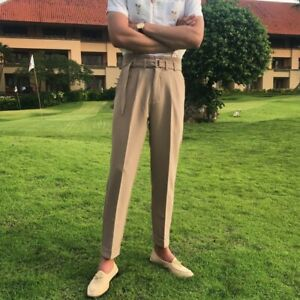 Men-039-s-High-waisted-Trousers-Belted-Pants-Pure-color-Western-Summer-Party-Casual