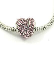 1pcs Silver Heart European Charm Crystal Spacer Beads Fit Necklace Bracelet  DIY