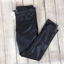 H & M Divided Size 12 Black Leather Leggings Women's Pants Skinny Straight
