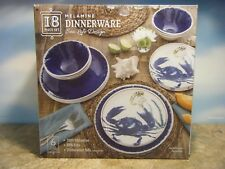 item 1 18 PIECE MELAMINE SEA LIFE BLUE CRAB DESIGN DINNERWARE SET *NEW* -18 PIECE MELAMINE SEA LIFE BLUE CRAB DESIGN DINNERWARE SET *NEW* & 18-piece Melamine Dinnerware Set Gray for Indoor and Outdoor Use | eBay