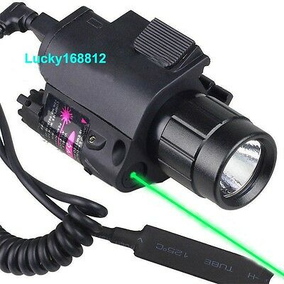 Red/Green Laser Sight & CREE LED Flashlight Combo Fit 4 Pistol Glock 20mm Rail *