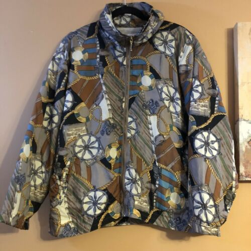Vintage 90s EVR 100% Silk Nautical Sailing Bomber