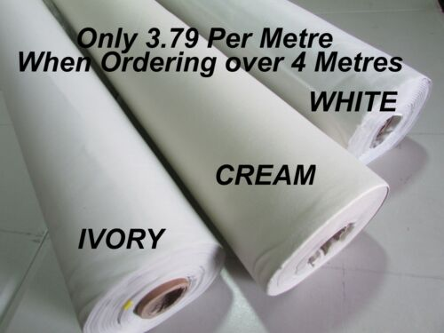 THERMAL BLACKOUT CURTAIN LINING FABRIC Per Metre 3 PASS WHITE CREAM IVORY