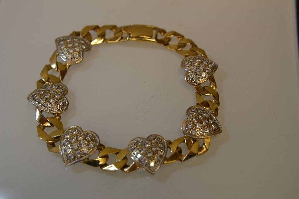 9ct gold Stone heart Curb Bracelet