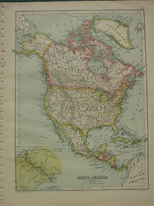 1902 ANTIQUE MAP ~ NORTH AMERICA ~ UNITED STATES DOMINION OF CANADA INSET PANAMA