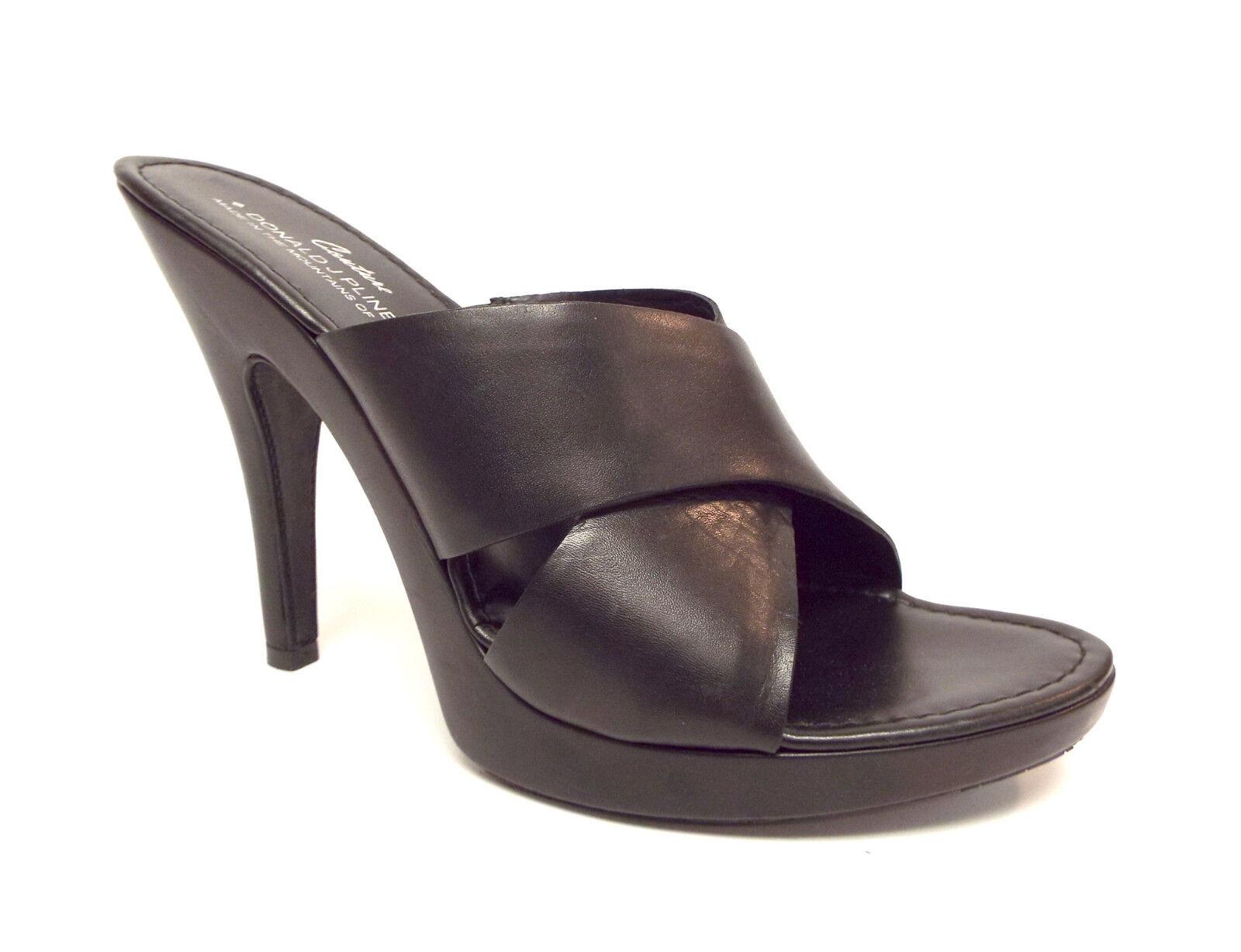 DONALD PLINER Size 8.5 GYPSY Black Leather Cross Strap Slide Sandals shoes 8 1 2