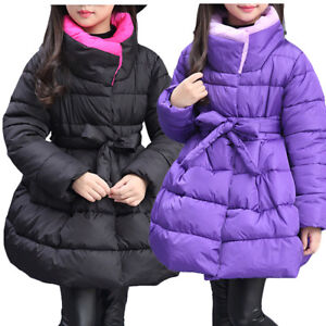 0d9dece4ede3 Cute Kids Girls Hooded Padded Parka Coat Winter Fur Snow Princess ...
