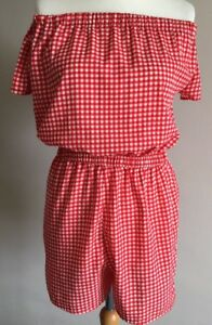 Lovely-Ladies-Girls-Red-And-White-Check-Off-Shoulder-Summer-Playsuit-Size-14