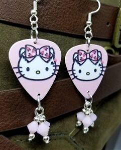 7e54f01b1 Image is loading Hello-Kitty-Guitar-Pick-Earrings-with-White-Alabaster-