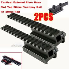 2x Tactical 1 inch Riser See-Thru Flat Top Rilfe Scope Mount Extended long Pour
