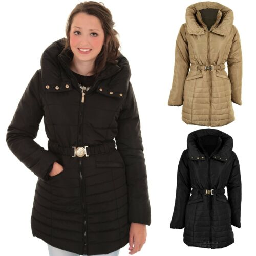 Women's Padded Quilted Belted Puffer Beige Black Ladies Winter Coat Jacket 814
