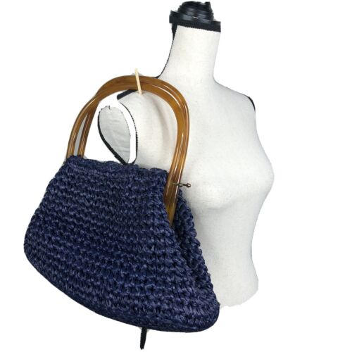 Vintage MM crochet Straw Lucite Bakelite Purse  bl