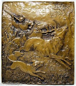 Placa-Escultura-Chasse-Renacimiento-Firmada-Helmut-Kahle-Alemania-Siglo-Xx