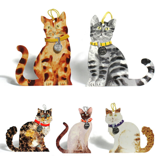125 Die Cut Cat Gift Tags With Detachable Collar Siamese Tabby Cat