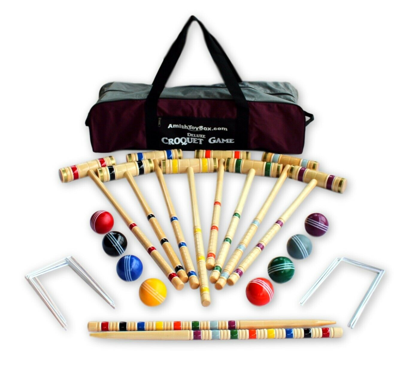 Eight-Player Deluxe Amish Crafted  Croquet Game Set with Carry Bag (33  handles)  everyday low prices