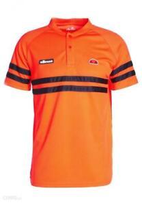 Ellesse-Men-s-Tennis-Polo-Shirt-Orange-Navy-Stripe