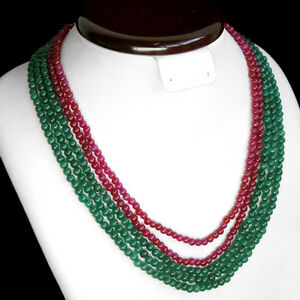 672.50 CTS EARTH MINED RED RUBY /& GREEN EMERALD 7 STRAND ROUND BEADS NECKLACE