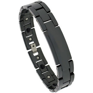 Black-Tungsten-Carbide-Ceramic-Magnetic-ID-Bracelet