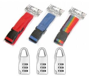 Set-3x-Koffergurte-mit-Clipverschluss-3x-Gepaeckschloss-Zahlenschloss-Kofferband