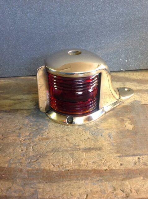 Vintage Polished Brass Bow Light Glass Lens Boat