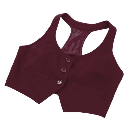 Women Suit Vest Work Dress Waistcoat Slim Fit Outerwear Casual Lined Button Vest