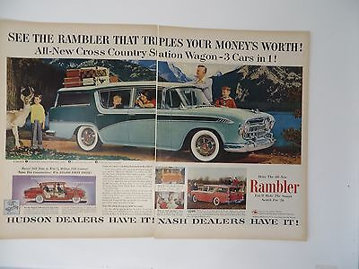 Merchandise & Memorabilia Original Print Ad 1956 Hudson Dealers Rambler Cross Country 2 Page